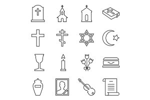 Set of icons funeral and cemetery