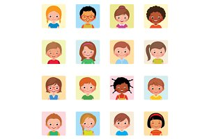 Set of icons avatars children