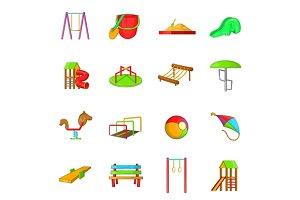 Playground icons set, cartoon style