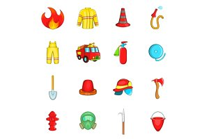 Fireman icons set, cartoon style