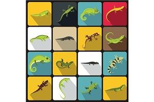 Lizard icons set, flat style
