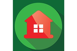 Red glance house icon. vector+jpg