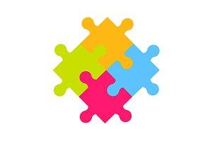 Puzzle pieces element. Vector+jpg