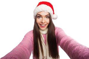 Model wearing christmas hat