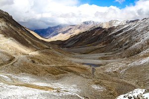 Landscape of Snow mountains in Leh, Ladakh in Indian state of Jammu and Kashmir
