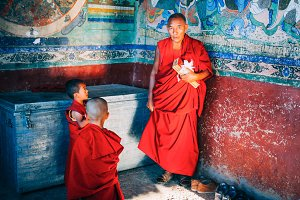 Tibetan Buddhist Monks prepared for chanting in Thikse Monastery