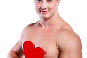 man holding red valentine's heart