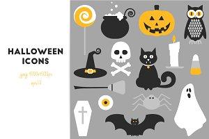 15 Halloween flat icons