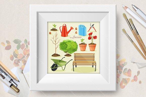 Spring gardening. Garden icon set - Illustrations