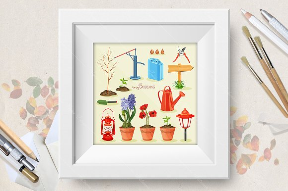 Spring gardening. Garden icon set - Illustrations