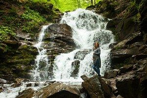 Clean waterfall is falling down