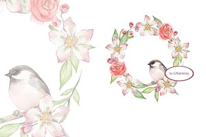 Small bird and flowers