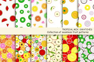 Fruit seamless patterns. Swatches.