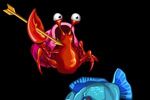 Blue piranha and funny crab