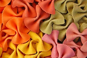 Colorful farfalle pasta
