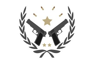 2 pistols, bullets and stars. Vector