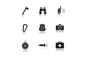 Camping gear. 9 icons. Vector