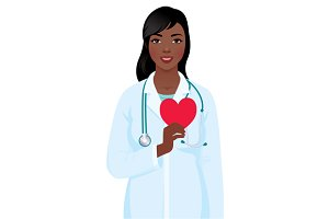 Woman doctor hold heart symbol