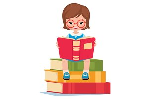 Girl pupil read book