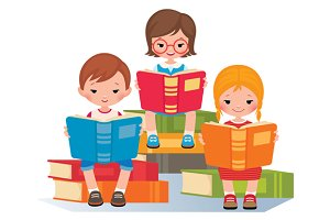 Group of children read books