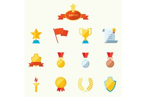 Set of flat icons sports awards
