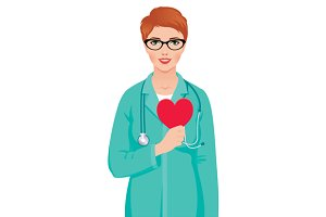 Woman doctor hold symbol heart