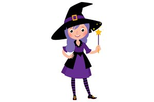 Girl in costume Halloween witch