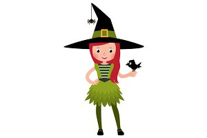 Little girl in druid witch costume