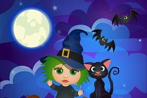 Two Halloween cartoon cards