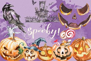 Watercolor Spooky! Halloween Clipart