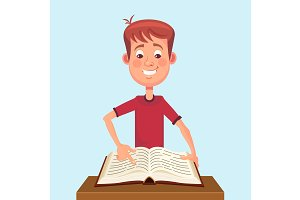 Young man student read book