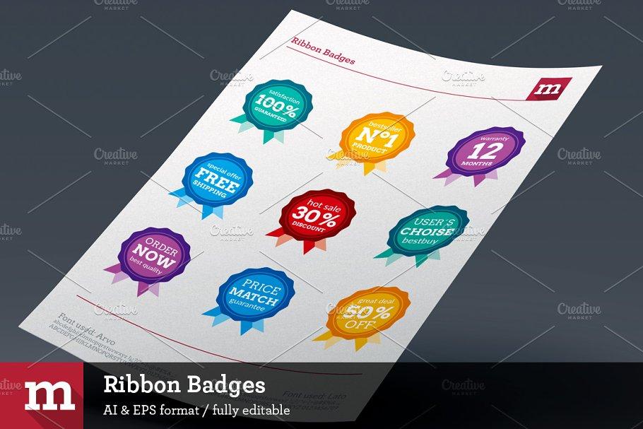 9 Ribbon Badges for eCommerce ~ Web Elements ~ Creative Market