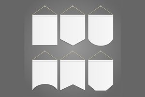 White Pennant Template Hanging