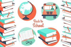Back to school icons plus pattern