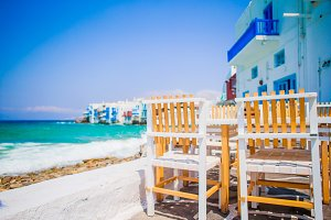 Beautiful view of Little Venice from a restaurant in Mykonos island in Greece