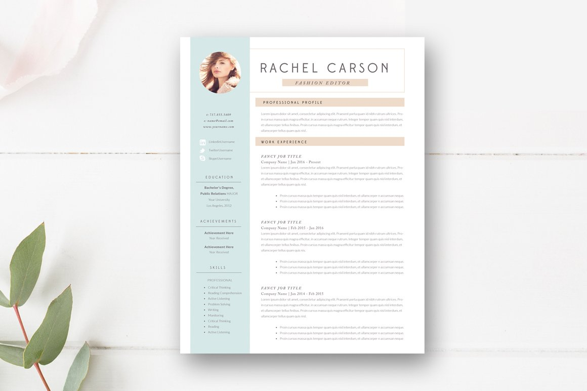 resume Is It Ok To Have A 3 Page Resume modern resume template 3 page templates creative market page
