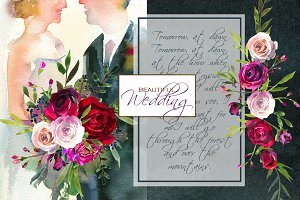 Wedding Watercolor Illustration Set