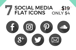 7 Social Media Flat Icons/ Buttons