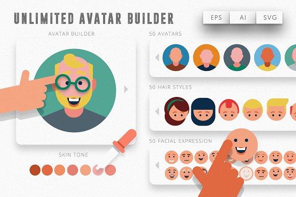 unlimited avatar creator kit illustrations creative market