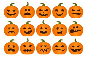 Halloweens pumpkin set