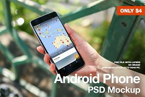 Android Phone no-brand PSD Mockup