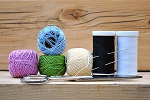 spools of thread, scissors
