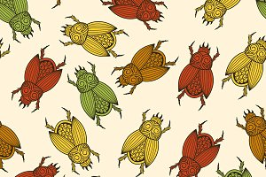 Vector seamless pattern with  scarab