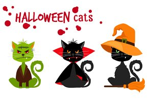 Halloween black cats set