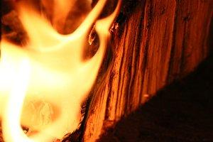 Flame burning Log