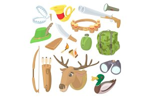 Hunting icons set, cartoon style