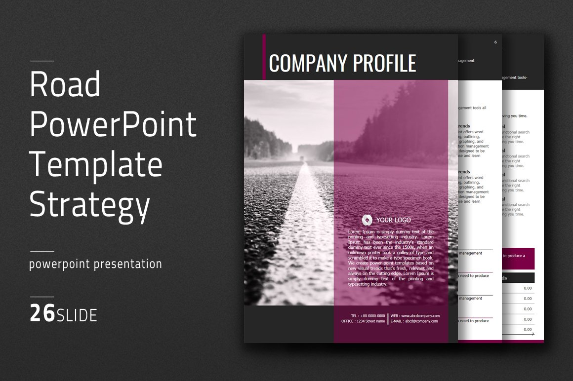 Road powerpoint template vertical presentation templates road powerpoint template vertical presentation templates creative market toneelgroepblik Image collections