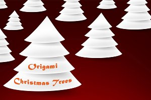 White origami Christmas trees