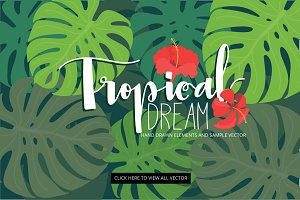 Tropical dream flower / leaf vector