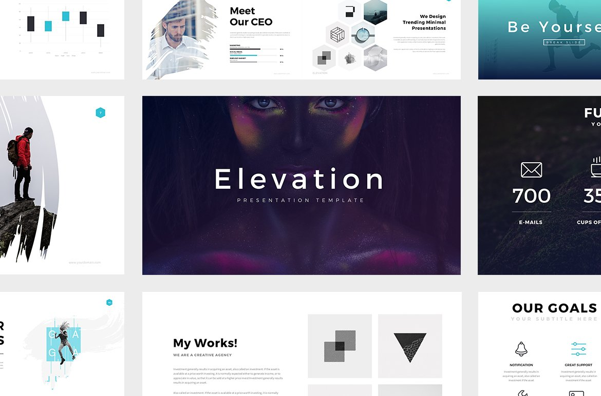 elevation minimal powerpoint theme presentation templates creative market